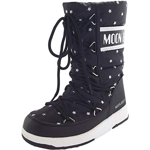 Moon Boot W.E. Quilted Star WP Girls Black-White Schuhgröße 30 2018 Stiefel