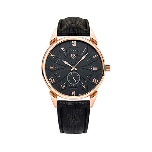 REALIKE Herren Quarzuhr Armbanduhr, Leder Armband Geschäft Zeiger Outdoor Laufen Chronograph wasserdichte Uhren, Retro große Anzeige Sportuhr mit für Männer Cool Erwachsene Smart Watch