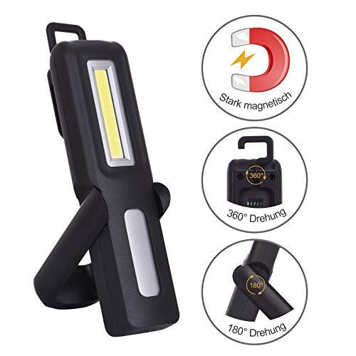 Preisvergleich Produktbild Sungentle Portable LED 3W Cob Arbeitslicht Taschenlampe 1200 mAh Wiederaufladbare Inspektionsleuchten Campinglampe mit Magnetclip,  USB-Ladekabel,  Netzanzeige für Garage,  Camping,  Notfall etc