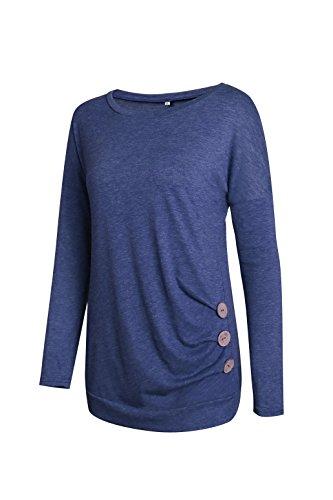 Casual Damen Basic Langarmshirt Bluse Loose Fit Tops T Shirt Oberteil Rundhals Slim Tunika Pullover Frühling Herbst Winter Blau