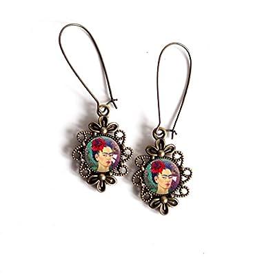 Boucles d'oreilles cabochon pendantes, Cabochon Frida Khalo, portrait femme, Mexique, Coloré