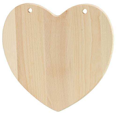 LAUBLUST Frühstücksbrettchen aus Holz im Herz Design - Schneidebrett als Deko und Geschenk - 24x24x2cm, Natur, FSC®