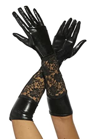 Lange Leder-Optik Handschuhe mit Spitze in schwarz
