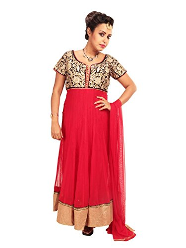 Sharmili Red Latest Designer Anarkali Embroidered Net Salwar suit for women, Matching Churidar & Dupatta, ( stitched ),L / XL size,Round NeckDaily wear / Party Wear By Zenith Garments  available at amazon for Rs.1795