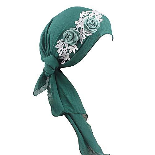 Amorar Frauen Muslimische Kopftuch Halstuch Haarband Damen Schal Cap Blumenstirnband Kopfmütze Chemotherapie-Hut Kopfbedeckung Schal Tuch Schlafmütze für Haarausfall Krebs Chemo Make up