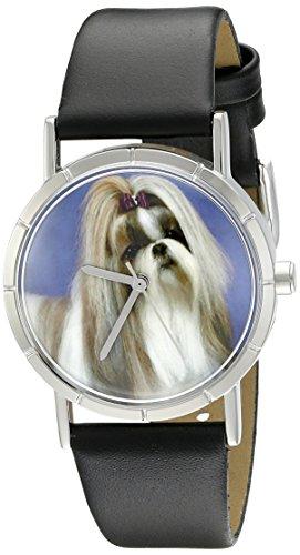 Skurril Uhren Shih Tzu schwarz Leder und Silvertone Foto Unisex Quarzuhr mit weißem Zifferblatt Analog-Anzeige und-Lederband r-0130069 -