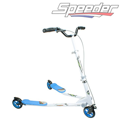 3 WHEELS KIDS MAXI SPEEDER SLIDER WINGED SCOOTER TRI MOTION FLICKER DRIFTER (BLUE)