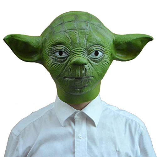 QQWE Star Wars Master Yoda Maske Film Cosplay Kostüm Prop Halloween Maskerade Thema Party Kopfbedeckungen,Green-OneSize
