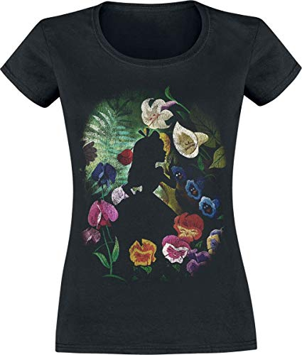 Alice Bekleidung (Alice im Wunderland Black Flower T-Shirt schwarz M)
