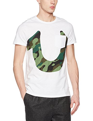 True Religion Herren Regular Fit T-Shirt Camo Horseshoe Ss M17ST28G3G, Gr. Large, Weiß (White 1700) (True-fit-camo-t-shirts)