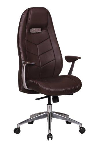 Amstyle Bürostuhl Bari Echt-Leder Design Schreibtischstuhl Armlehne Chefsessel höhenverstellbar 120 kg Drehstuhl Synchronmechanik Drehsessel hohe Polster Rücken-Lehne Kopfstütze ergonomisch braun
