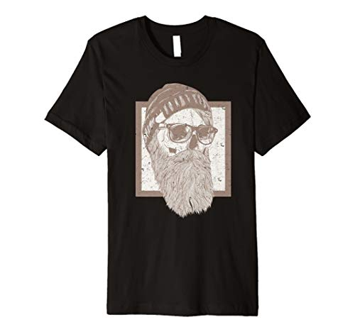 Herren Bart T Shirt - Bartträger Tshirt - Beard, Hipster Totenkopf