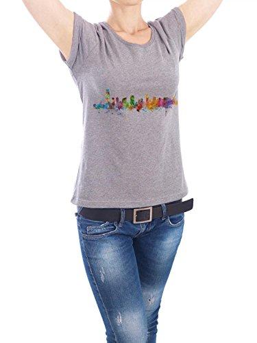 """Design T-Shirt Frauen Earth Positive """"Jersey City New Jersey Watercolor"""" - stylisches Shirt Städte Kartografie Reise Architektur von Michael Tompsett Grau"""