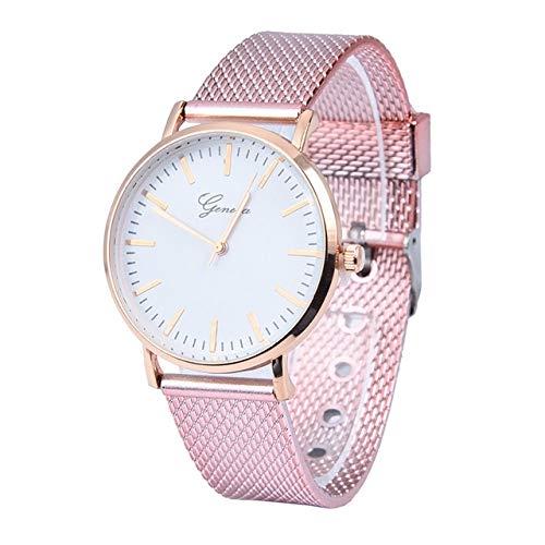 Songlin@yuan Moderne Einfachheit Quarz-Silikon-Armbanduhr für Frauen Modus (Farbe : Rosa)