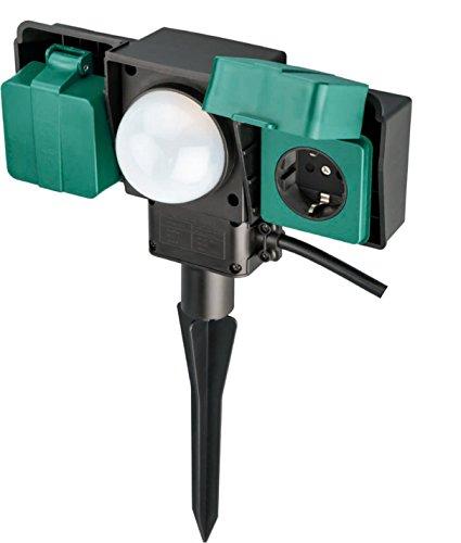 LIGHTEU Erdspieß IP54 spritzwassergeschützt mit Dämmerungsautomatik,Umgehungshandschalter,10m Kabel