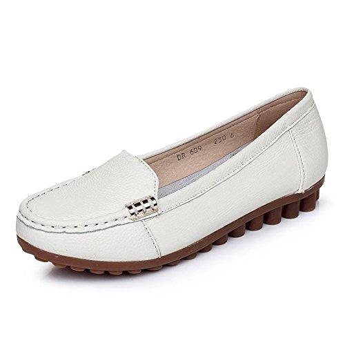 Portefeulilles en cuir pour chaussures/Chaussures pied plat/Chaussures casual féminin doux/Chaussures de haricot plat anti-dérapant A