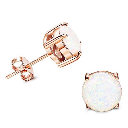 Yadoca 1 Pair Ohrringe 18K Rose Gold Vergoldete Opal Modeschmuck 3-8mm für Damen Mädchen Glitzer Runde Große Blau Weiß Schmuck Ohrringe -
