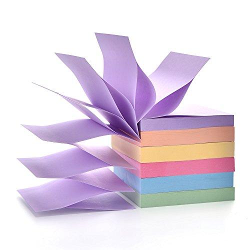 Pop Up Haftnotizen Pad 7,6 x 7,6 cm, 6 Stück, Candy Color Easy Post Notes 100 Blatt pro Block insgesamt 600 Blatt Einzelpackung
