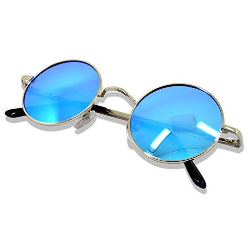 WHCREAT Uralt Retro Unisex Rund Polarisierte Sonnenbrille Federscharnier Metall Rahmen UV 400 Schutz für Männer Frauen - Silber Rahmen Eisblau Linse