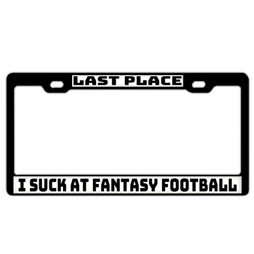 Superlicenseframe Personalisierter Kfz-Kennzeichenrahmen aus Aluminium mit Schraubdeckel, Suck at Fantasy Football (Frame Sport Accord License Plate)