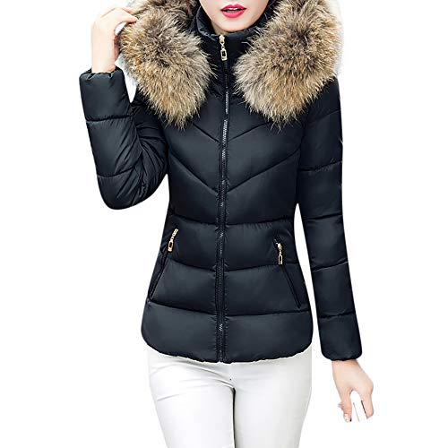 Theshy Damen Winterjacke Wintermantel Lange Daunenjacke Jacke Outwear Frauen Winter Warm Daunenmantel Arbeiten Sie festen beiläufigen dickeren dünnen Mantel um (M, Schwarz 2)