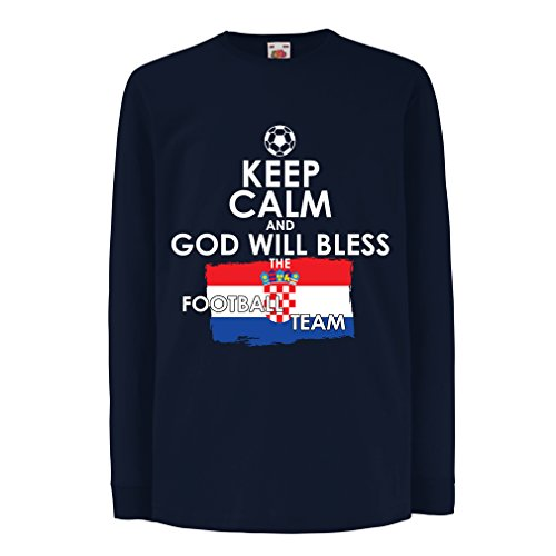 N4482D Kinder-T-Shirt mit langen Ärmeln Keep Calm and God will Bless the Croatian football team (9-11 years Blau Mehrfarben) (T-shirt Flag Chad)