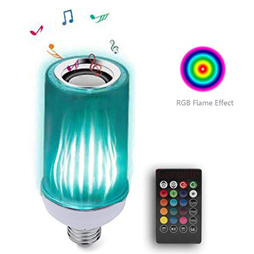 Czqlcyl Color Flame Bulb, Bluetooth Colorful Remote Control Flame Sound Light, Multi-Function smart Light, Colorful + Flame + Speaker + Remote Control (8w, E27)