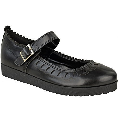 Neu Damen Schuhe Mädchen Schule Ausgeschnitten Kolbig Puppe Geek Works Pumpen Größe - Schwarz Kunstleder, 39