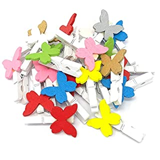 30mm White Clothes Peg with 20mm Multi-Coloured Wooden Butterflies Craft For Shabby Chic Vintage Wedding & Craft (25)