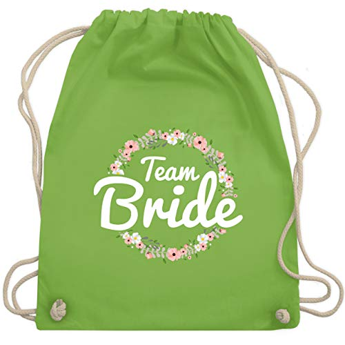 JGA Junggesellinnenabschied - Team Bride Blumenkranz - Unisize - Hellgrün - WM110 - Turnbeutel & Gym Bag (Süßes Paar Kostüm Ideen)