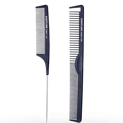 SIGHTLING - Pettine da barbiere in fibra di carbonio nero con coda, pettine per taglio e acconciatura