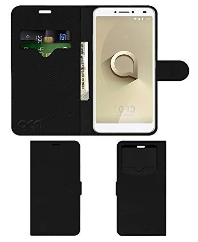 Acm Leather Window Flip Wallet Front & Back Case for Alcatel 3v Mobile Cover Black
