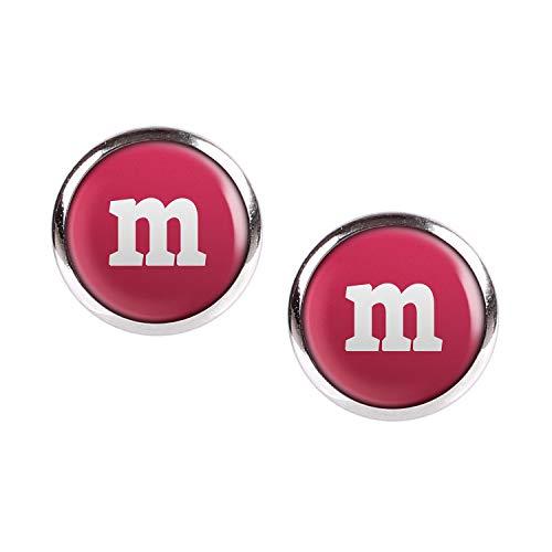 Mylery Ohrstecker Paar mit Motiv Buchstabe m Rot silber 12mm (Lustige Team Motto Kostüm)