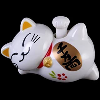 White Laying Solar Powered Waving Lucky Fortune Cat
