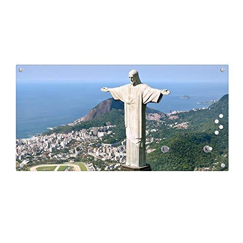 banjado Wandgarderobe aus Echtglas | Design Garderobe 80x40x6cm groß | Paneel mit 5 Haken | Flurgarderobe für Jacken und Mäntel | Garderobenleiste mit Motiv Christo Rio de Janeiro - Del Rio Mantel