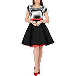Vestido Corto Mujer Retro Años 50 Vintage Pin-up (Negro, ES 40 - M)