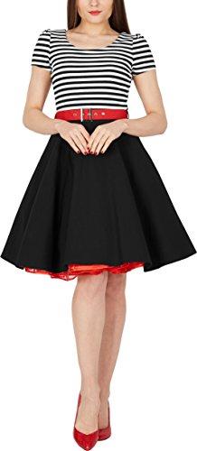 BlackButterfly Maria' Vintage Striped Pin Up Dress (Black, UK 14)
