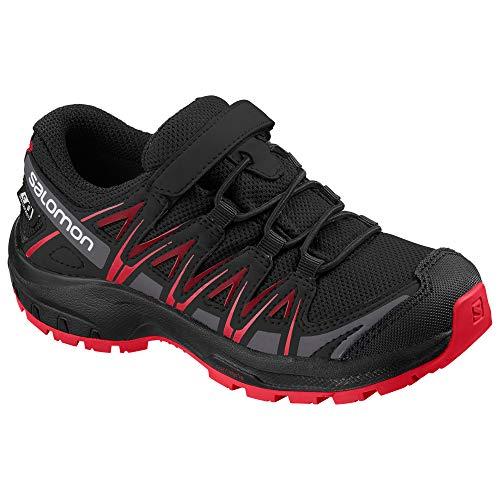 Salomon Kinder XA Pro 3D CSWP J, Trailrunning-Schuhe, Wasserdicht, Schwarz (Black/Black/High Risk Red), Größe (Schuhe Schwarz Für Kinder)