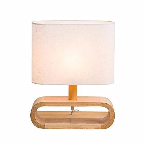 CJSHV-Table Lamp Modern Minimalist Oak Linen Cover Living Room Study