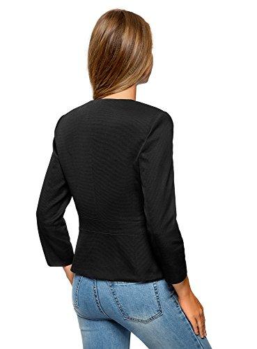 oodji Collection Damen Taillierter Blazer mit Häkсhen Schwarz (2900N)