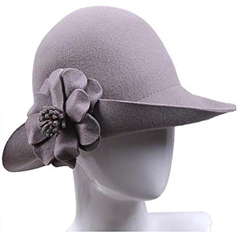 WE&ZHE cappello femminile di lana della cupola marea Inghilterra stile Jazz di piegatura fiore decorare piccolo cappello Autunno Inverno , gray