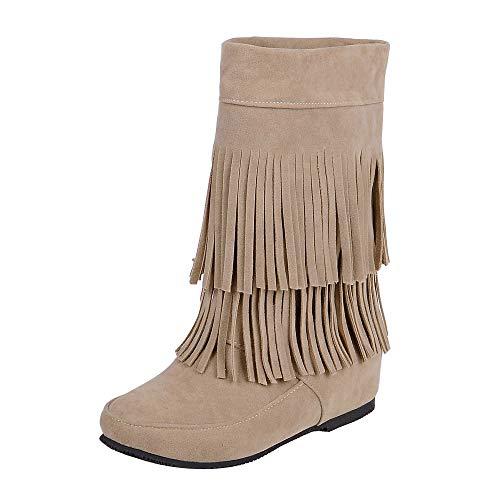 QINGMM Frauen Wildleder Fransen Stiefel 2018 Herbst Flache Mode Booties,Aprikose,38 EU