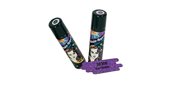 FASCHING 30306 Hairspray 2 in 1 lila, Glitter+Color, Haarspray NEU ...