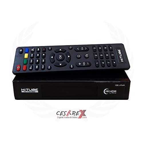 Hitube 4K UHD E2 Linux Combo Sat- Kabel- DVB-T2 Receiver mit DVB-S2 und DVB-C/T2 Tuner, HDTV, 2160p, H.265, PVR, HDR, mit HDMI Kabel [vorprogrammiert für Astra & Hotbird]