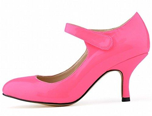 Wealsex Escarpins Sandale Bride Cheville Scratch Vernis PU Cuir Bout Pointu Talon Moyen Aiguille Talon 6 Cm Femme rose rouge