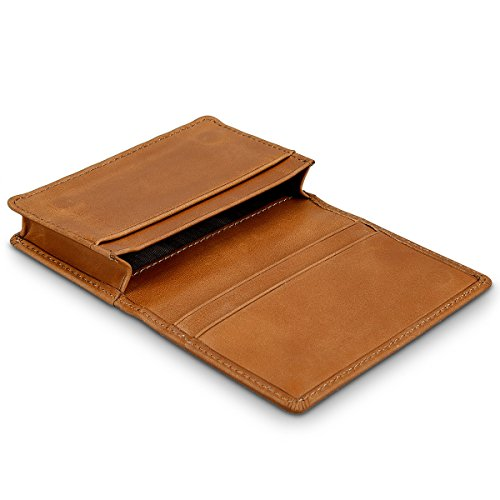kalibri-Leder-Visitenkartenetui-Visitenkartenbox-Kartenhalter-Kartenaufbewahrung-bis-zu-60-Visitenkarten-Personalausweis-aus-Echtleder-in-braun