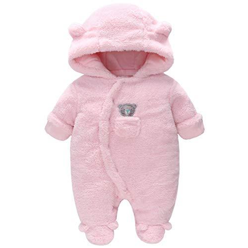 Vine Baby Mädchen Schneeanzüge Winter Fleece Overall mit Kapuze Strampler Footed Jumpsuit, Rosa 6-9 Monate