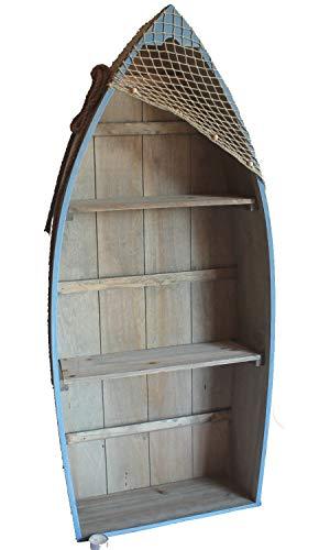 Asia Art Factory AAF Nommel®, Boot Regal 101 x 45 x 15 cm, Kiefernholz, Maritim Dekor im Shabby Look, Nr. 010 -