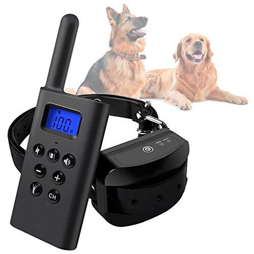 Ociodual Collar de Adiestramiento para Perros Estimulacion, Vibracion y Pitido, Antiladridos Resistente al Agua Negro L-168