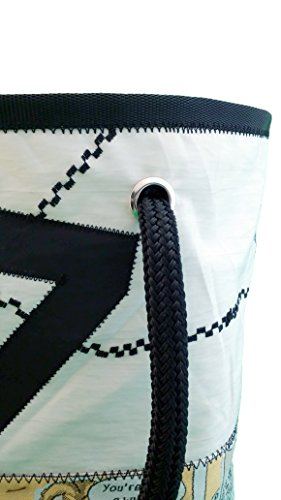 Secchiello: Borsa donna in vela riciclata e tessuto con manici in cima nautica bianca-blu-nera grigio fumetto